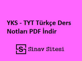 YKS - TYT Türkçe Ders Notları PDF İndir