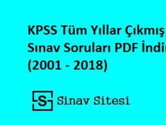 KPSS Tüm Yıllar Çıkmış Sınav Soruları ve Çözümleri Pdf İndir