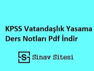 KPSS Vatandaşlık Yasama Ders Notları Pdf İndir