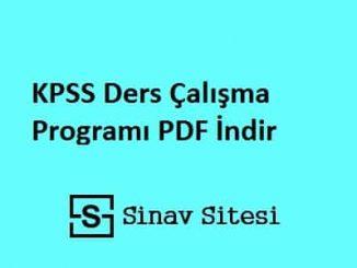 KPSS Ders Çalışma Programı PDF İndir