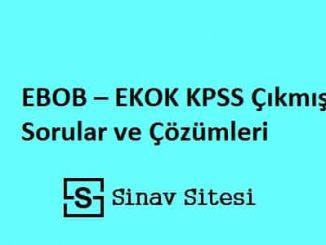 EBOB - EKOK KPSS Çıkmış Sorular ve Çözümleri PDF