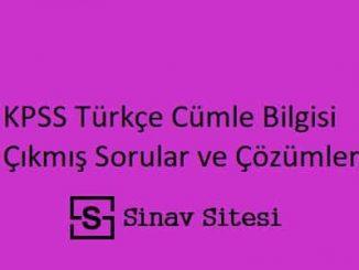 KPSS Türkçe Cümle Bilgisi Çıkmış Sorular ve Çözümleri