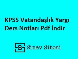 KPSS Vatandaşlık Yargı Ders Notları Pdf İndir