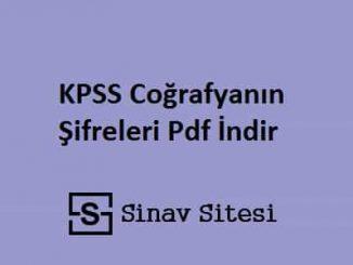 KPSS Coğrafyanın Şifreleri Pdf İndir
