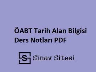 ÖABT Tarih Alan Bilgisi Ders Notları PDF İndir