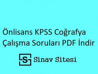 Önlisans KPSS Coğrafya Çalışma Soruları PDF İndir