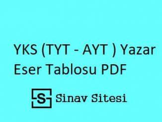 YKS (TYT - AYT ) Yazar Eser Tablosu PDF İndir