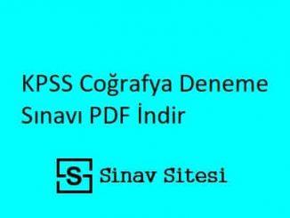 KPSS Coğrafya Deneme Sınavı İndir PDF