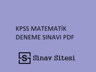 KPSS MATEMATİK DENEME PDF İNDİR