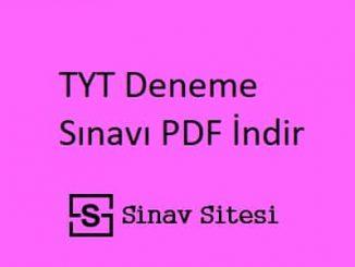 TYT Deneme Sınavı PDF İndir