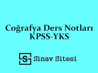 Coğrafya Ders Notları KPSS-YKS
