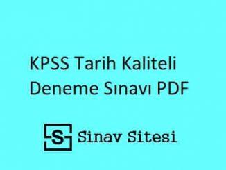 KPSS Tarih Kaliteli Deneme Sınavı PDF İndir