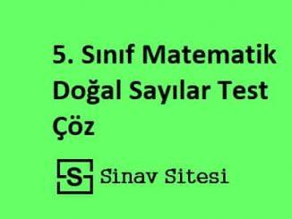 5. Sınıf Matematik Doğal Sayılar Test Çöz