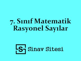 7. Sınıf Matematik Rasyonel Sayılar