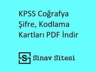 KPSS Coğrafya Şifre, Kodlama Kartları PDF İndir