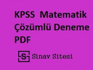 3 Adet KPSS Lisans Matematik Çözümlü Deneme Pdf İndir