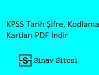 KPSS Tarih Şifre, Kodlama Kartları PDF İndir