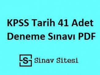 KPSS Tarih 41 Adet Deneme Sınavı PDF İndir