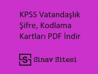KPSS Vatandaşlık Şifre, Kodlama Kartları PDF İndir