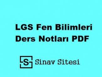 LGS Fen Bilimleri Ders Notları PDF İndir