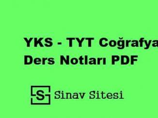 YKS - TYT Coğrafya Ders Notları PDF İndir