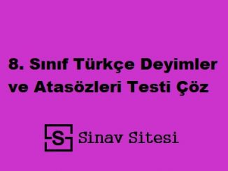 8. Sınıf Türkçe Deyimler ve Atasözleri Testi Çöz