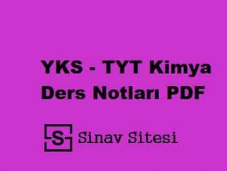 YKS - TYT Kimya Ders Notları PDF İndir