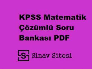 KPSS Matematik Çözümlü Soru Bankası PDF İndir