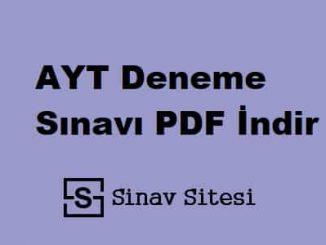 AYT Deneme Sınavı İndir PDF