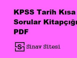 KPSS Tarih Kısa Sorular Kitapçığı PDF İndir