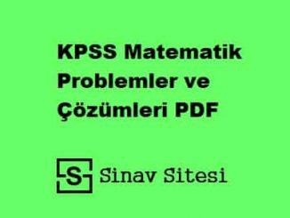 KPSS MATEMATİK PROBLEMLER PDF İNDİR