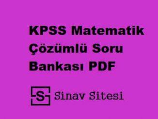 KPSS MATEMATİK SORU BANKASI PDF