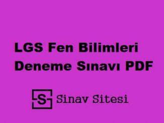 LGS Fen Bilimleri Deneme Sınavı PDF İndir
