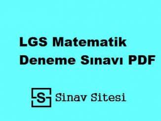 LGS Matematik Deneme Sınavı PDF İndir