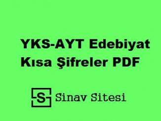YKS-AYT Edebiyat Kısa Şifreler İndir PDF