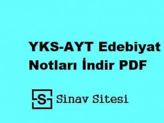 YKS-AYT Edebiyat Notları İndir PDF