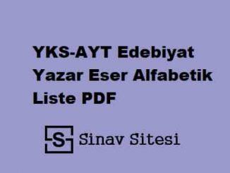 YKS-AYT Edebiyat Yazar Eser Alfabetik Liste PDF