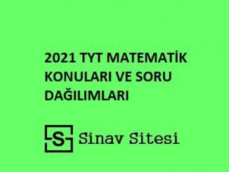 2021 tyt matematik konu dağılımı