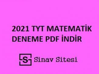 2021 TYT Matematik Deneme Sınavı PDF