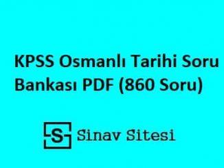 KPSS Osmanlı Tarihi Soru Bankası PDF