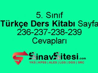 5. Sınıf Türkçe Ders Kitabı Sayfa 236-237-238-239 Cevapları