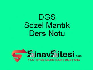 DGS Sözel Mantık Ders Notu